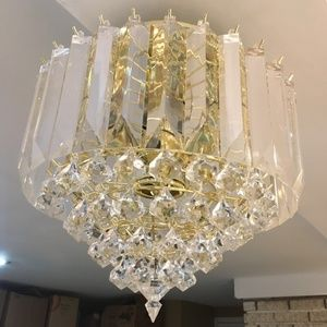 Prism Teardrop and Rod Lucite & Brass Chandelier